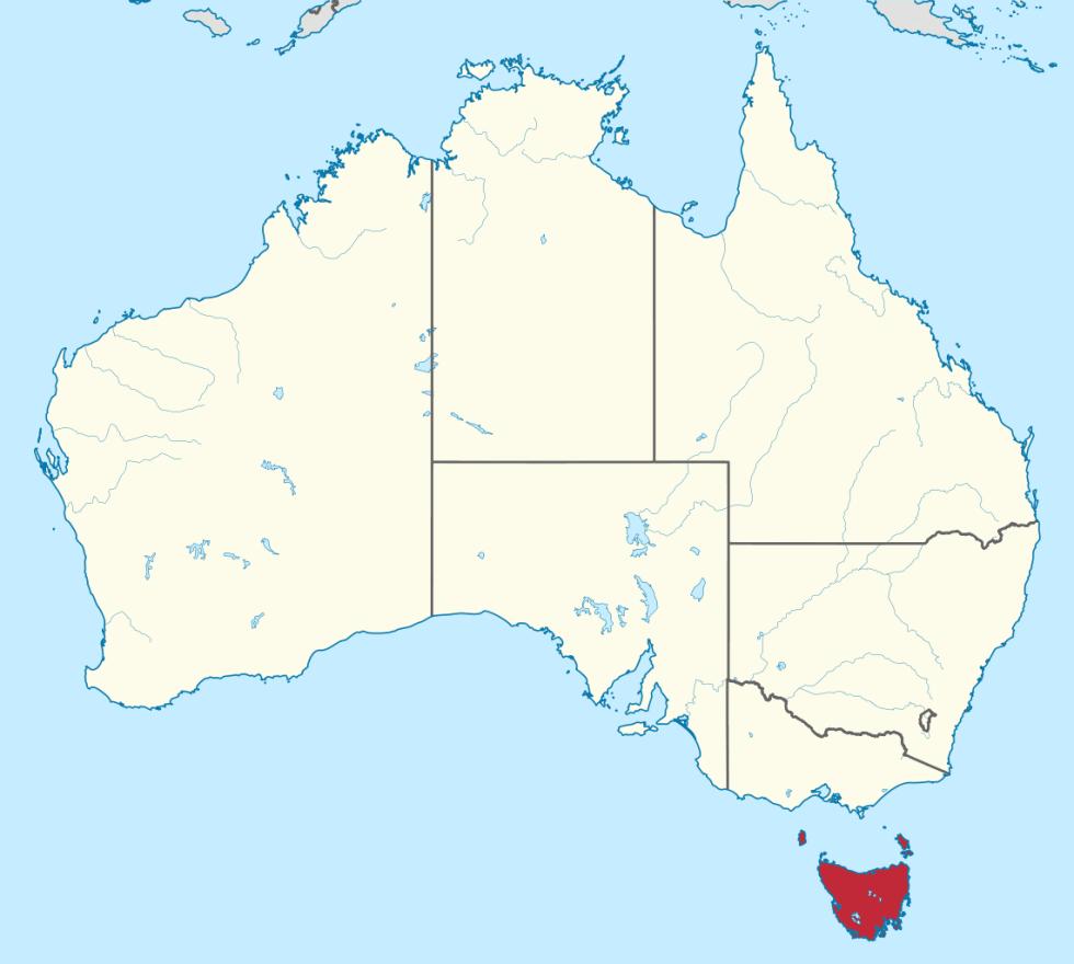Tasmania (in red)