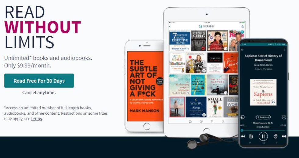 Scribd -borrow Ebooks, audiobooks, magazines, and sheet music