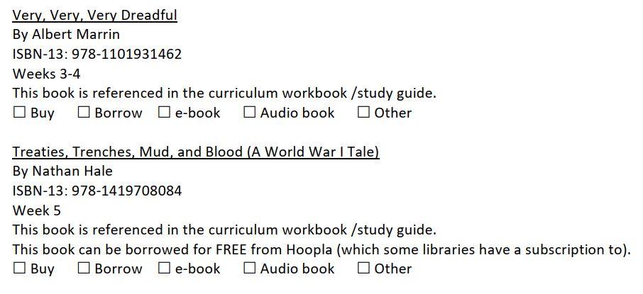 Homeschool American history curriculum book list sample