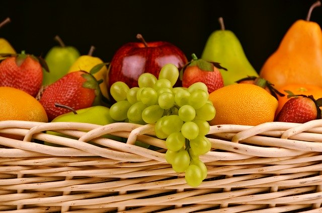 A basket full of fresh fruits
