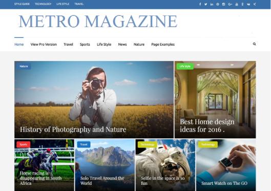 Metro Magazine free wp magazine theme