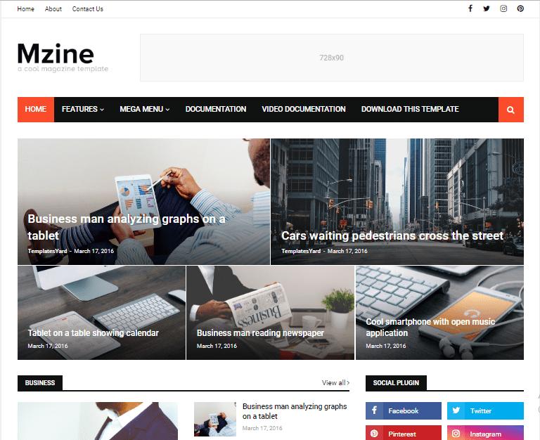 MZine blogger template free