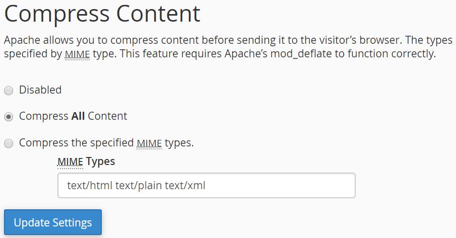 Compress content through cPanel