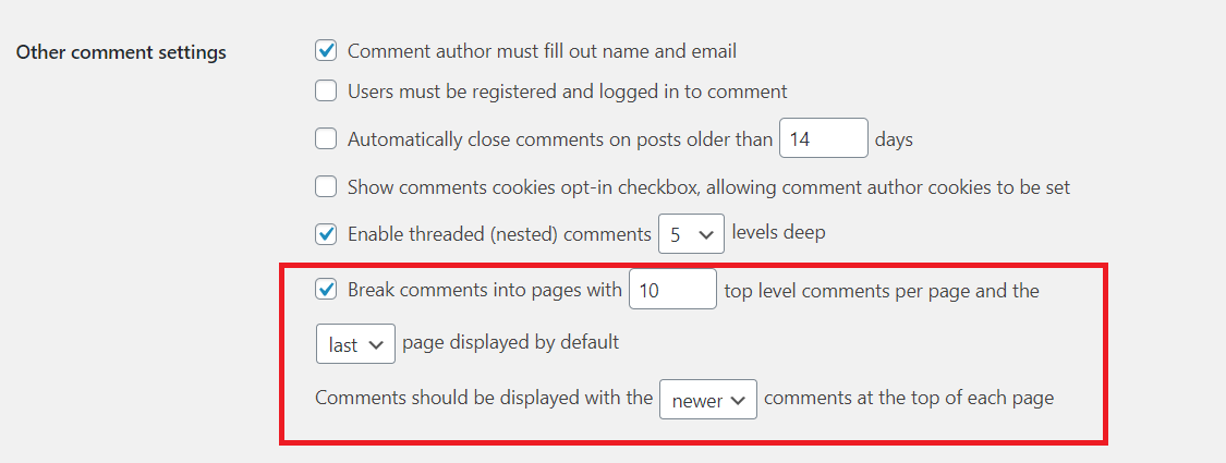 configuration to break comments into pages