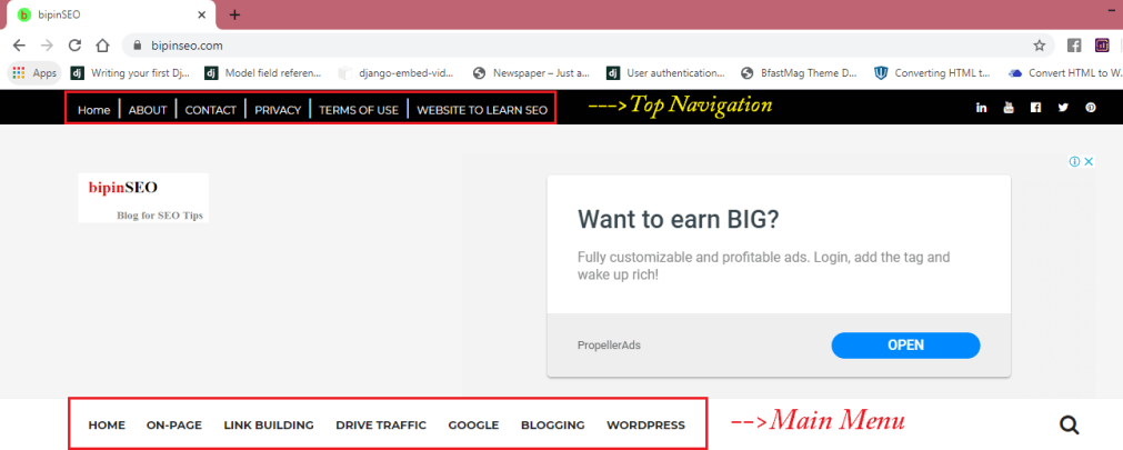 menu bar navigation in blogger