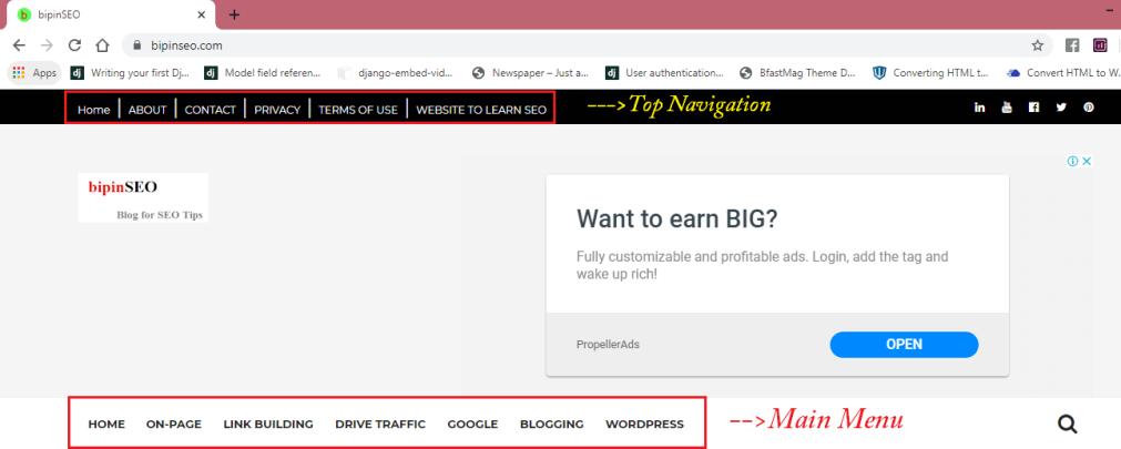 menu bar navigation in blogger