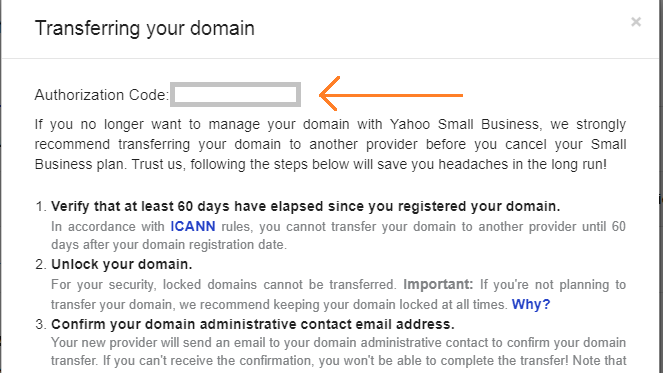 obtain authorization code for your yahoo domain