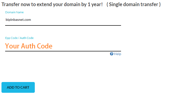 enter domain and auth code of domain that you want to transfer