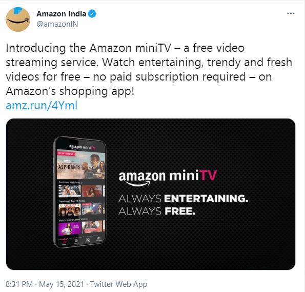 Amazon miniTV in India