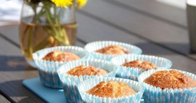 Muffins med rabarber er en rigtig sommerkage, der kan bages på meget kort tid. Foto: Guffeliguf.dk.