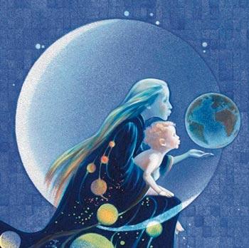 ilustração de mãe cósmica e filho