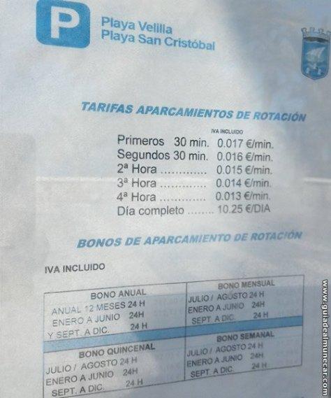 Precios Parking Playa Velilla Junio 2016