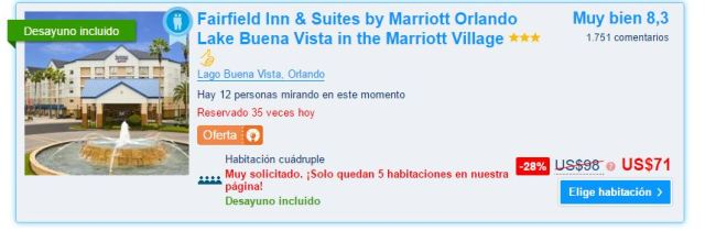 Fairfield Inn & Suites by Marriott Orlando Lake Buena Vista in the Marriott Village Precio.JPG
