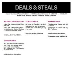 Deals Orlando International Premium Outlet Septiembre 11