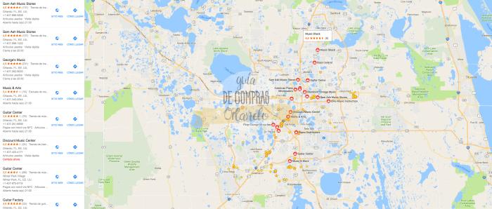 Mapa tiendas de instrumentos