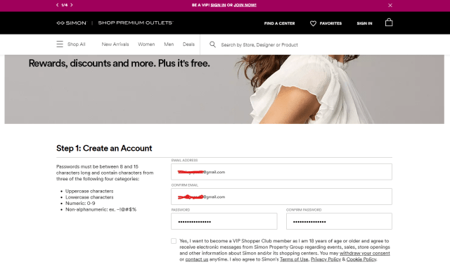 Registro nuevo usuario VIP Shoppremiumoutlets.com 1