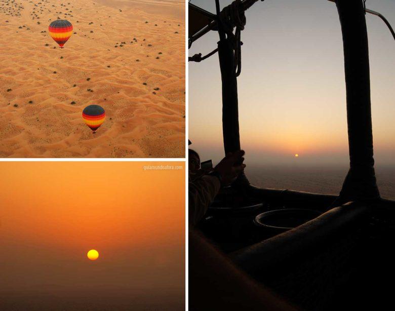Nascer do sol em Balão em Dubai
