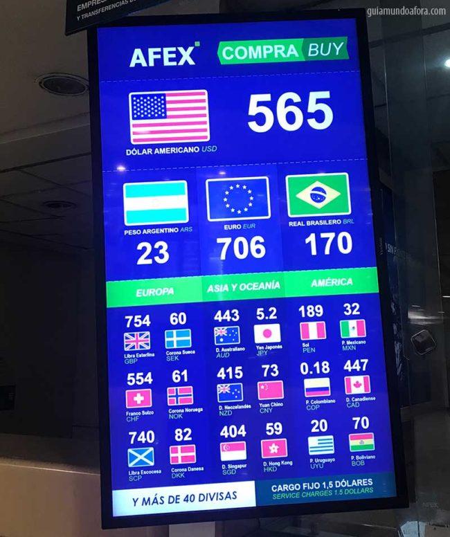 Câmbio no Chile aeroporto