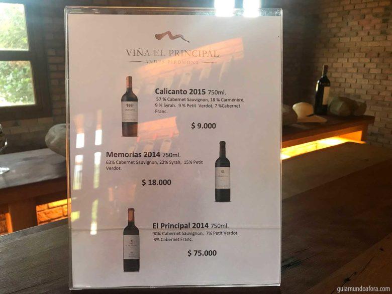 preços vinhos El Principal em Santiago