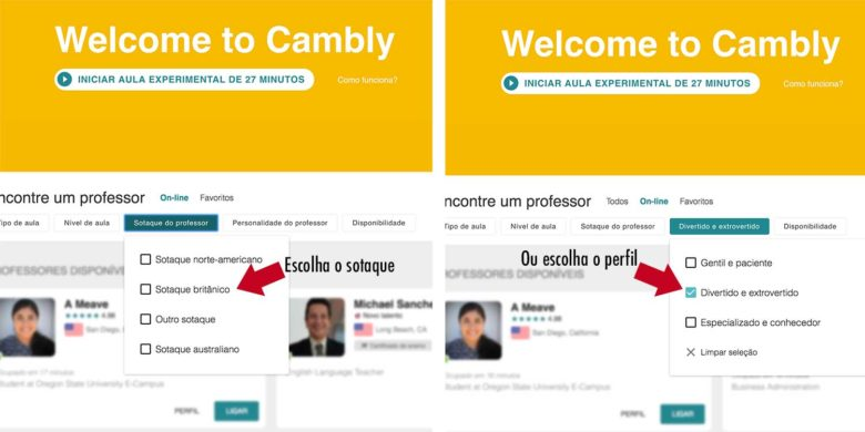 professores cambly