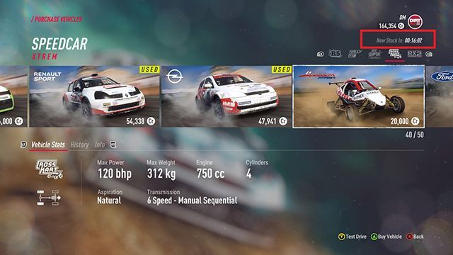The counter in the upper right corner of the screen informs you when the offer is going to be refreshed. The cars marked with yellow are used - they are cheaper, but in most cases damaged. - Best cars for the beginning in DiRT Rally 2.0 - Basics - DiRT Rally 2.0 Guide