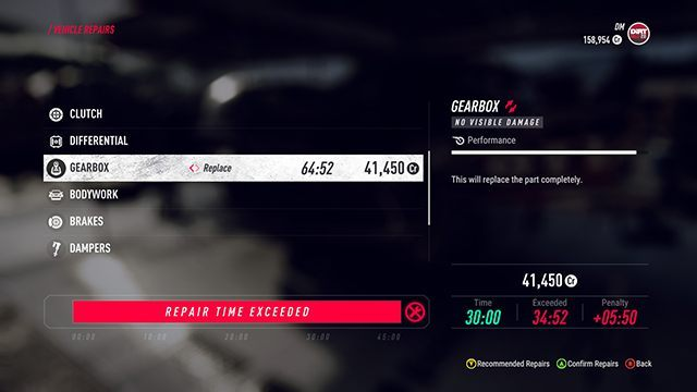 The time required to perform repairs can be checked in the bottom right corner of the screen. If it exceeds half an hour, you should choose another type of repair - quick instead of the standard one. - Career and Rallycross modes in DiRT Rally 2.0 - Basics - DiRT Rally 2.0 Guide