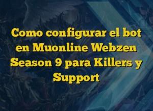 Como configurar el bot en Muonline Webzen Season 9 para Killers y Support
