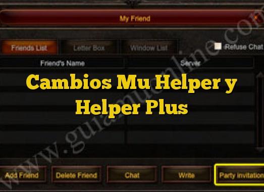 Cambios Mu Helper y Helper Plus