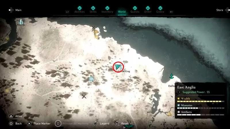 cómo activar la estatua con tres ranuras en Assassin's Creed Valhalla