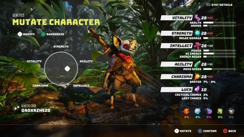 Atributos y estadísticas de creación de personajes de BIOMUTANT