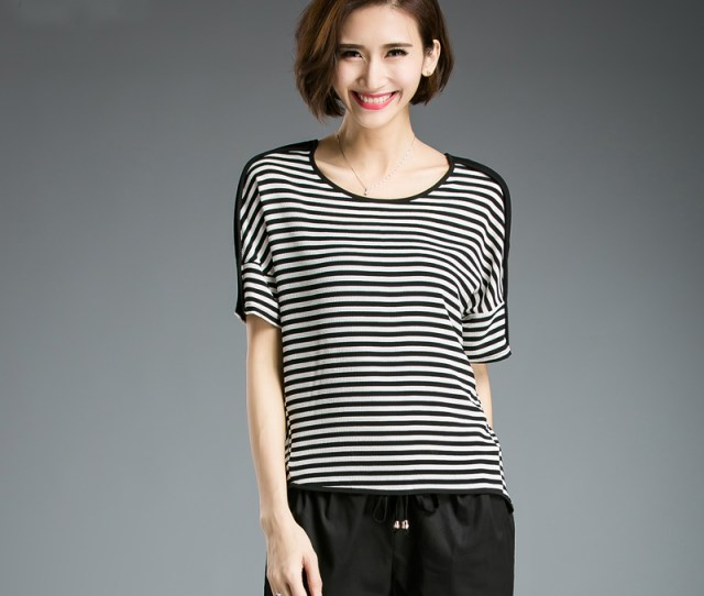 Get Quotations  C B Fat Girl Large Size Womens Fashion Black And White Striped Chiffon T Shirt  Of