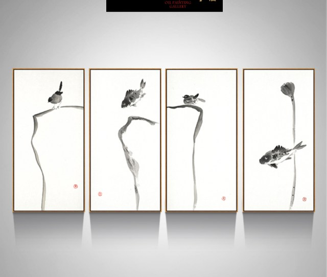 Get Quotations  C B Ruijie New Modern Chinese Ink Painting Decorative Painting Abstract Art Painting Paintings Hotel Bedside Simple Four