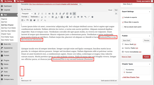 Footnotes and (Chapter) Endnotes – Pressbooks User Guide
