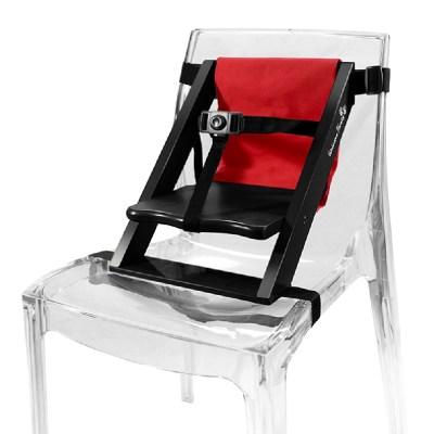 Rehausseur de chaise en bois noir et tissu rouge