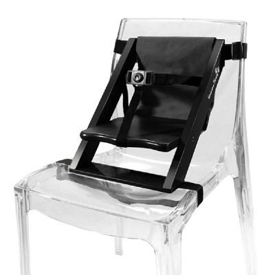 Rehausseur de chaise en bois noir et tissu noir