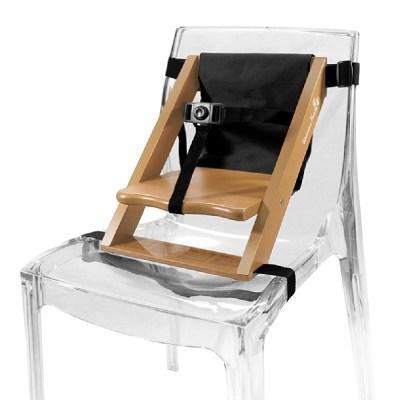 Rehausseur de chaise enfant en bois naturel et tissu noir
