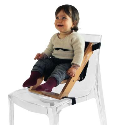Rehausseur de chaise en bois naturel et tissu noir