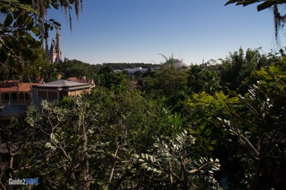 Swiss Family Robinson Treehouse - View of Space Mountain and Castle - Magic Kingdom Attraction