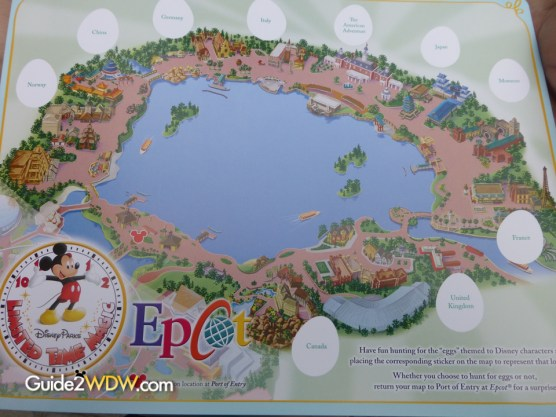 This is the map they give you for the Easter Egg Hunt. The eggs were hidden around the countries of the World Showcase.
