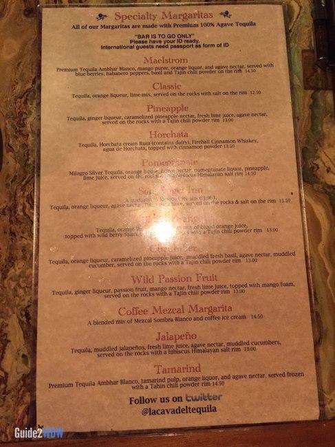 La Cava del Tequila - Margarita Menu - Disney World Dining