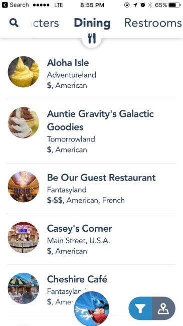 My Disney Experience App Dining