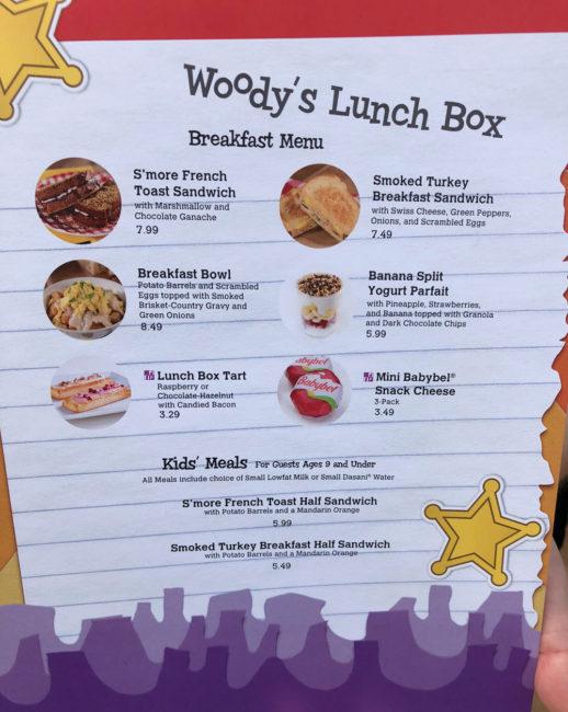 Woody's Lunch Box Menu - Toy Story Land - Disney's Hollywood Studios - Walt Disney World