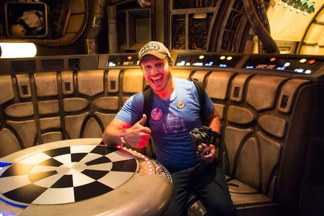 Millennium Falcon James Star Wars Galaxys Edge- Disneyland- Guide2WDW