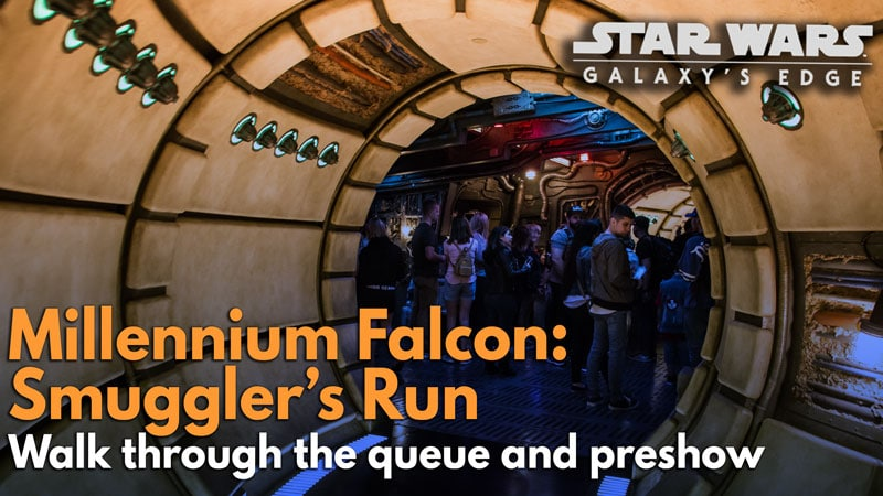 VIDEO: Millennium Falcon: Smuggler's Run complete queue and preshow – Star Wars: Galaxy's Edge