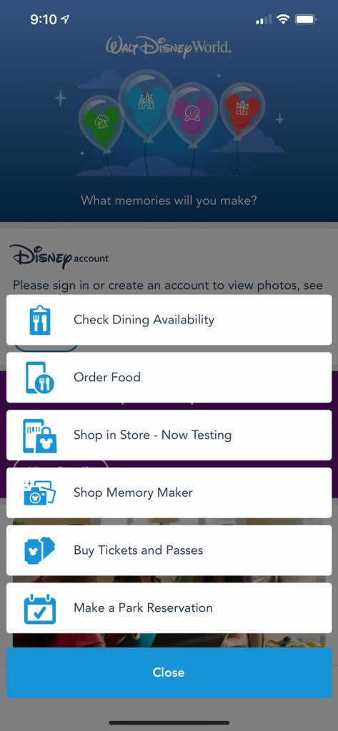Check Dining Availability - Disney World App