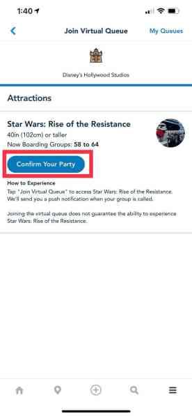 Disney World Virtual Queue App - Confirm Your Party