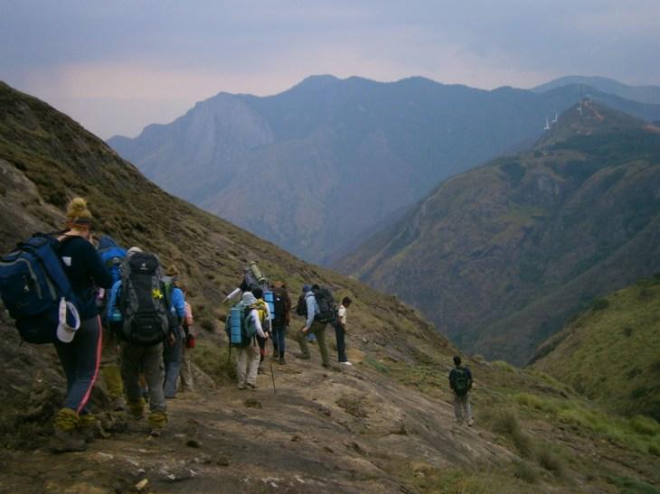 Descending rock slabs on day 3 of the trek