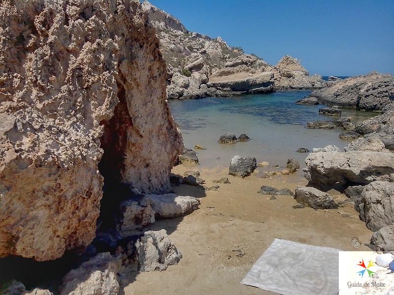 plage petite beach slugs bay malte
