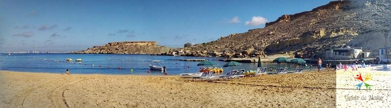 panoramique gnejna bay plage malte