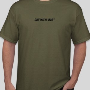 Stock image of olive green short sleeve t-shirt. (front)